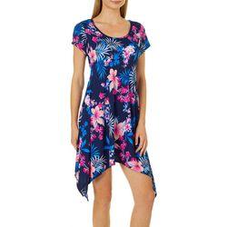 French Atmosphere Petite Floral Handkerchief Hem Dress