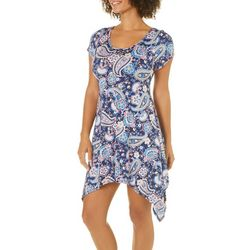French Atmosphere Petite Floral Paisley T-Shirt Dress