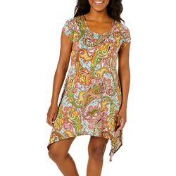 French Atmosphere Petite Paisley Handkerchief Hem Dress