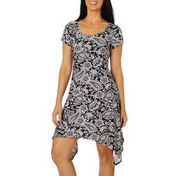Lexington Avenue Petite Floral Paisley Sharkbite Hem Dress