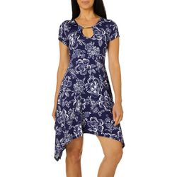 Lexington Avenue Petite Floral Keyhole Sharkbite Hem Dress