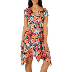 Lexington Avenue Petite Painted Floral Keyhole Dress
