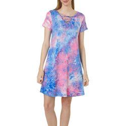 Lexington Avenue Petite Lattice Detail Tie Dye Sundress