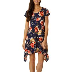 Petite Floral Design Sharkbite Hem Dress