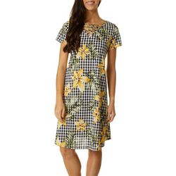 Lexington Avenue Petite Floral Gingham Print Dress
