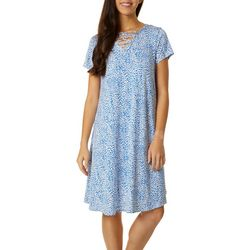 Lexington Avenue Petite Lattice Neck Leopard Print Dress