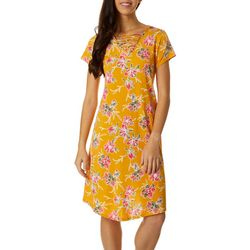 Lexington Avenue Petite Lattice Neck Floral Puff Print Dress