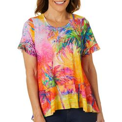 Leoma Lovegrove Womens Parade Of Palms Ruffle Hem Top