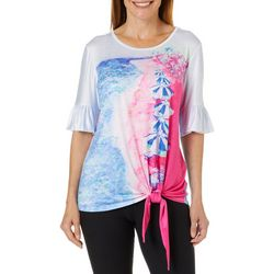 Leoma Lovegrove Womens Lido Beach Tie Front Top