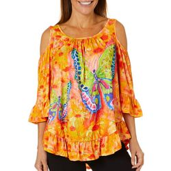 Leoma Lovegrove Womens Florida Butterfly Cold Shoulder Top