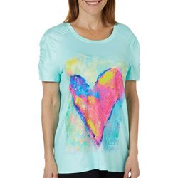 Leoma Lovegrove Womens Art Throb Ruched Shoulders Top