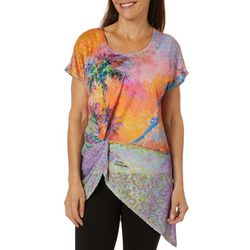 Leoma Lovegrove Womens Parade Of Palms Knot Front Tunic Top