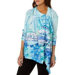 Leoma Lovegrove Womens Moody Blues Draped Cardigan