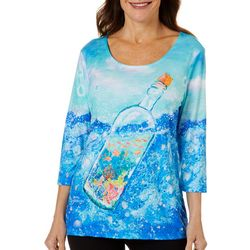 Leoma Lovegrove Womens Bottle Print Scoop Neck Top