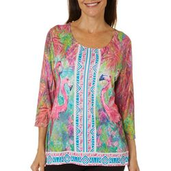 Leoma Lovegrove Womens Flamingo Boarder Print Top
