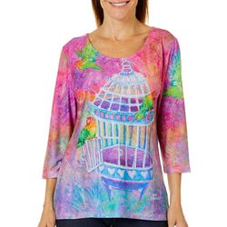 Leoma Lovegrove Womens Who Let The Birds Out Scoop Neck Top
