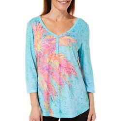 Leoma Lovegrove Womens Palm Hugger Burnout Henley Top