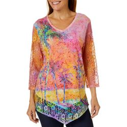 Leoma Lovegrove Womens Parade Of Palms Lace Top