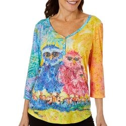 Leoma Lovegrove Womens Owl Family Burnout Top