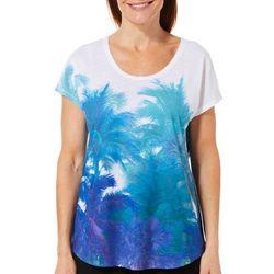 SunBay Petite Palm Tree Print Heathered Top