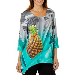 SunBay Petite Embellished Pineapple Of My Eye Sharkbite Top
