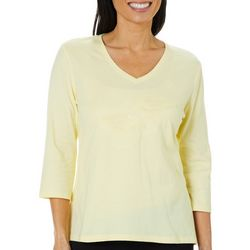 SunBay Petite Embroidered Sand Pipers Top