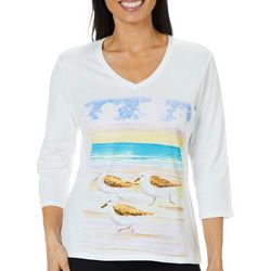 SunBay Petite Sand Pipers Watercolor Top