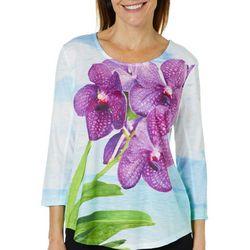SunBay Petite Orchid Bloom Print Top