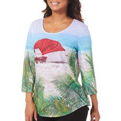 SunBay Petite Beached Santa Hat Print Top