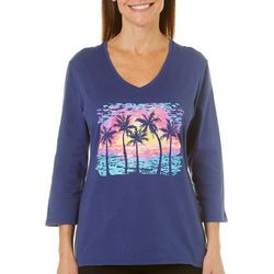 SunBay Petite Sunset Palm Tree Print Top