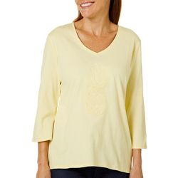 SunBay Petite Sequin Pineapple V-Neck Top