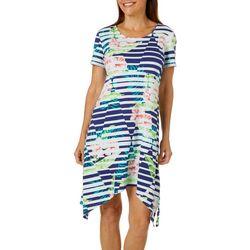 SunBay Petite Floral Diamaond Gradient Dress