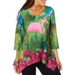 SunBay Petite Tropical Flamingo Holiday Top