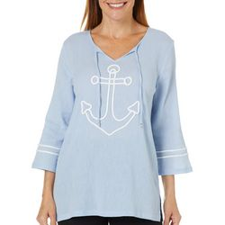 SunBay Petite Embroidered Anchor Tie Neck Gauze Top