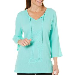 SunBay Petite Embroidered Palm Split Neck Gauze Top