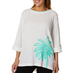 SunBay Petite Embroidered Palm Tree Roll Sleeve Gauze Top