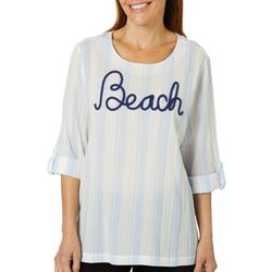 SunBay Petite Embroidered Beach Striped Gauze Top