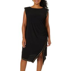Emma & Michelle Plus Solid Stud Embellished Sheath Dress