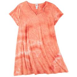 Plus Tie-Dye Split Neck T-Shirt Dress