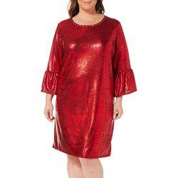 Ruby Road Favorites Plus Metallic Foil Shift Dress