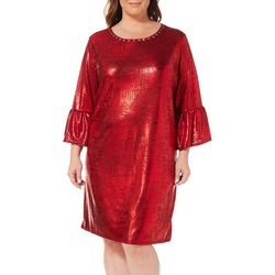Ruby Road Favorites Plus Metallic Foil Shift Dress
