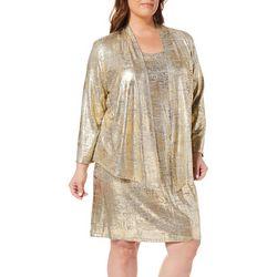 Ruby Road Favorites Plus Metallic Foil Jacket Dress