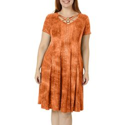 Sami & Jo Plus Lattice Ring Neck Sequin Fiesta Dress