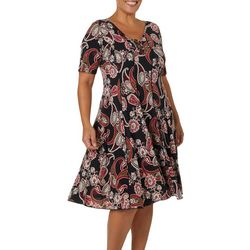 Sami & Jo Plus Paisley Puff Print Ring Neck Panel Dress
