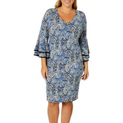 Sami & Jo Plus Paisley Print Bell Sleeve Shift Dress