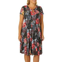 Sami & Jo Plus Geo Rose Print Ring Neck Panel Dress