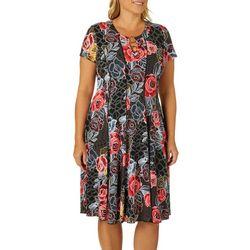 Sami & Jo Plus Geo Rose Print Ring Neck Panel Dress