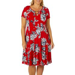 Sami & Jo Plus Floral Print Double Keyhole Panel Dress