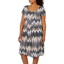 Sami & Jo Plus Geometric Chevron Print Panel Dress