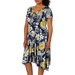 Sami & Jo Plus Tropical Floral Ring Neck Panel Dress